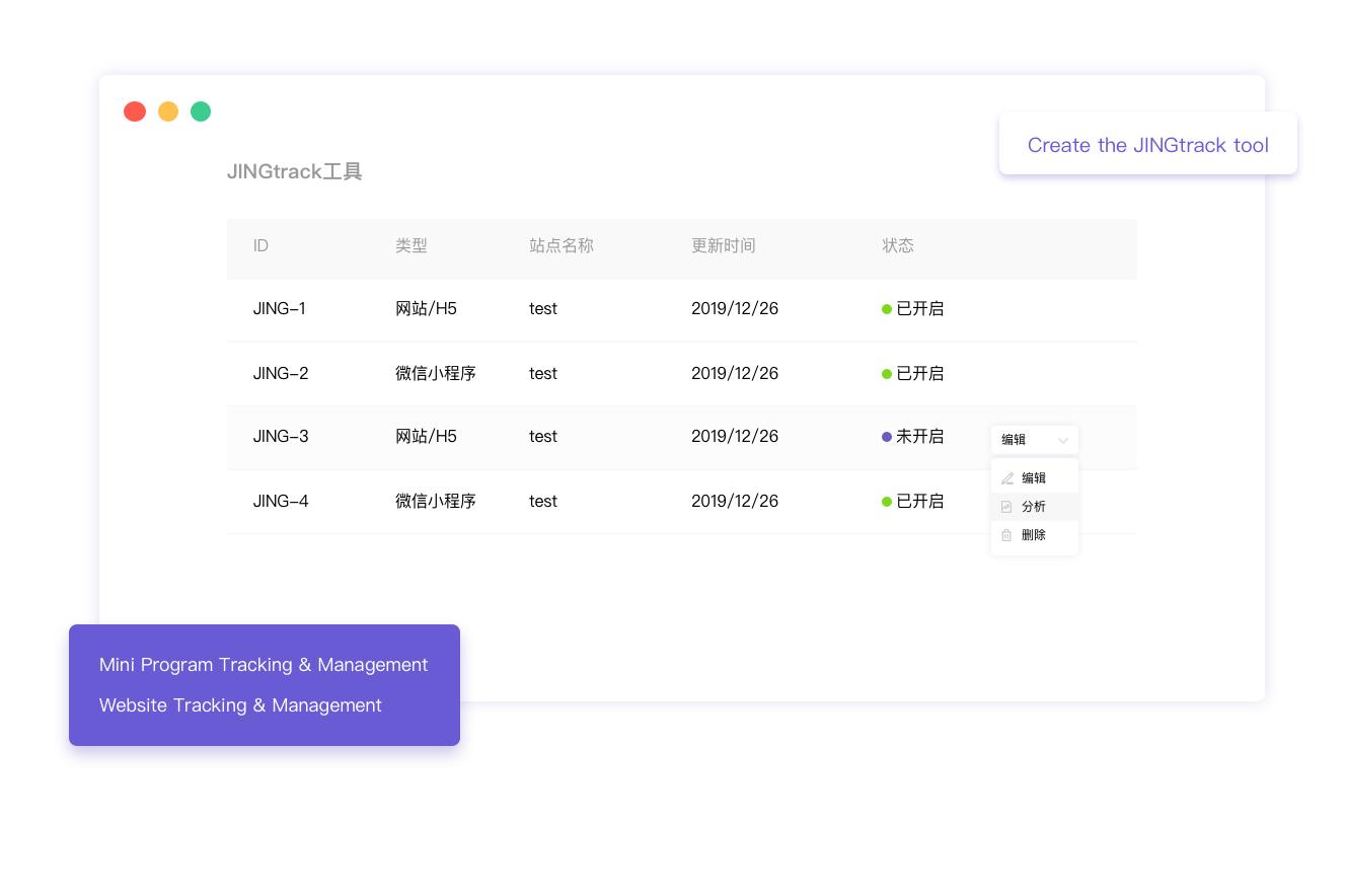 JINGtrack - 用户行为追踪平台